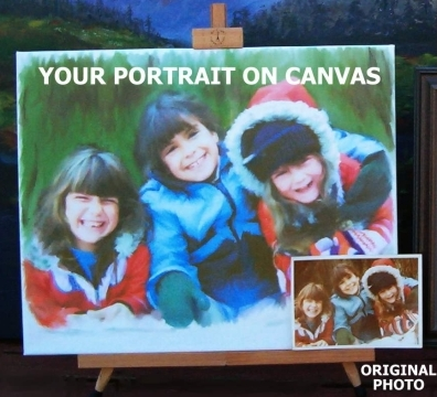 Personalized Gifts Ideas for all the family: A kids, children or baby portrait on canvas painted from your favourite photo. ORIGINAL & UNIQUE IDEA FOR BIRTHDAYS & CHRISTMAS!